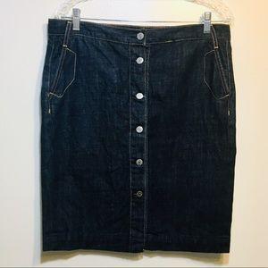 J.Crew Dark Denim Button Front Jean Skirt sz 10